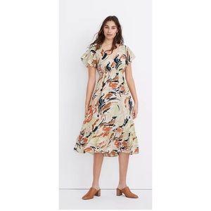 Madewell Flutter Sleeve Ruffle-Waist Midi Dress